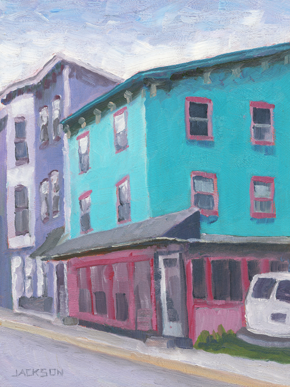 Blue house at JimThorp PA,2.18.14