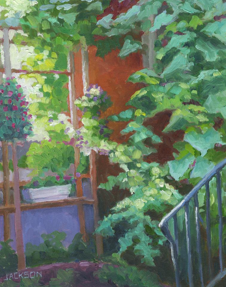 Neighbor's garden, sun setting,8.16.14